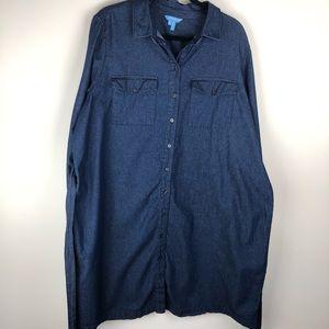 Draper James Dresses - Draper James Chambray Denim Shirt Dress 20 C945